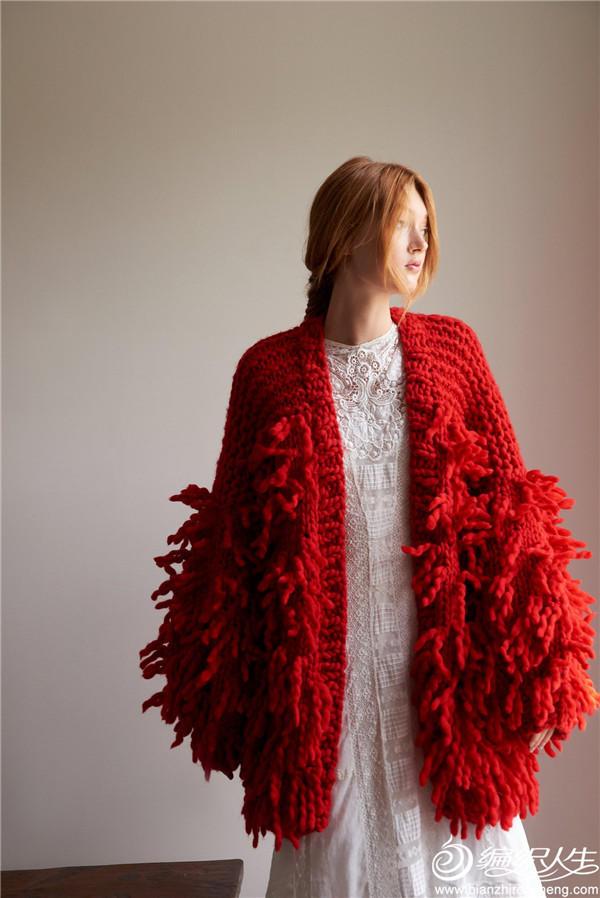 羊毛流苏开衫外套毛衣