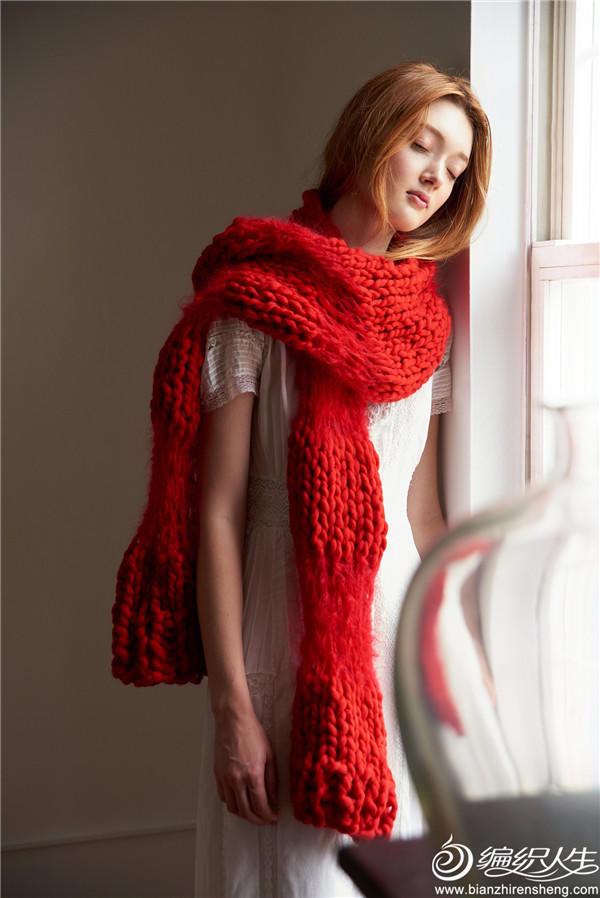 红色粗羊毛棒针围巾