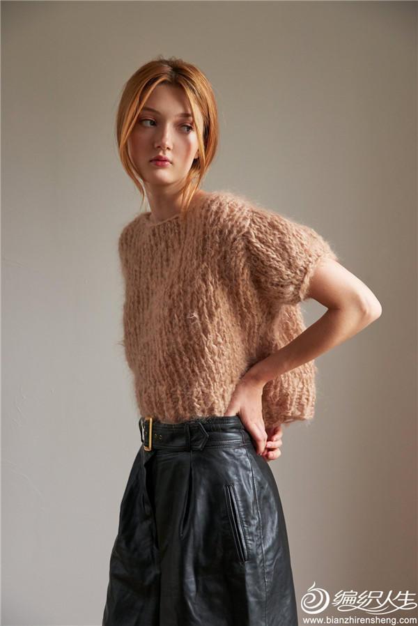 女士棒针短袖马海毛衣
