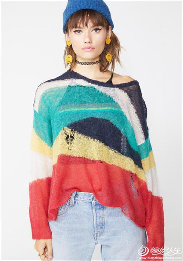破洞馬海彩虹毛衣