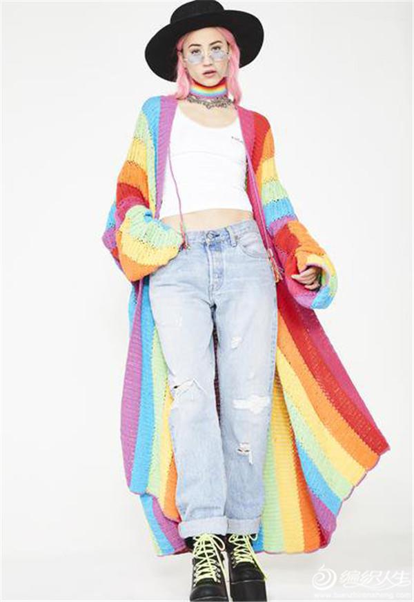 鉤針彩虹色大衣