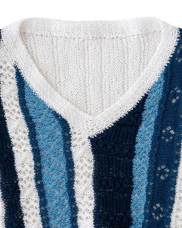 清新蓝色竖纹女士棒针落肩袖镂空花V领衫