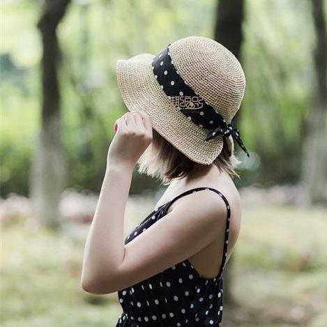 夏日女士钩针丝带棉草帽