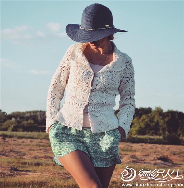 白色钩花外套开衫