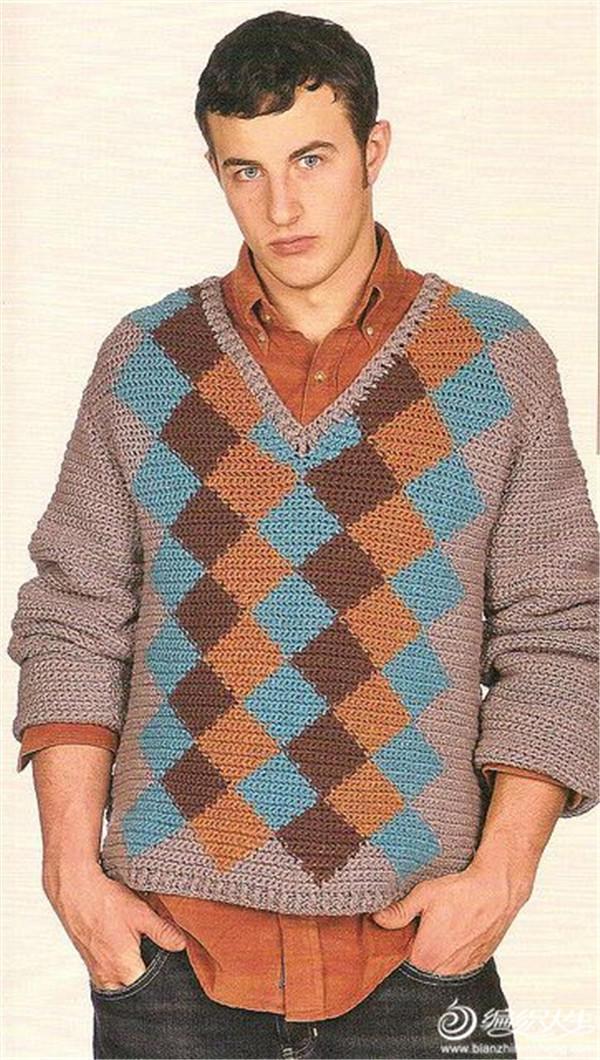 男士鉤針V領菱格長袖毛衣