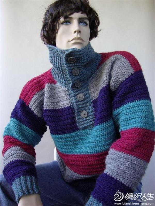 男士钩针POLO领毛衣