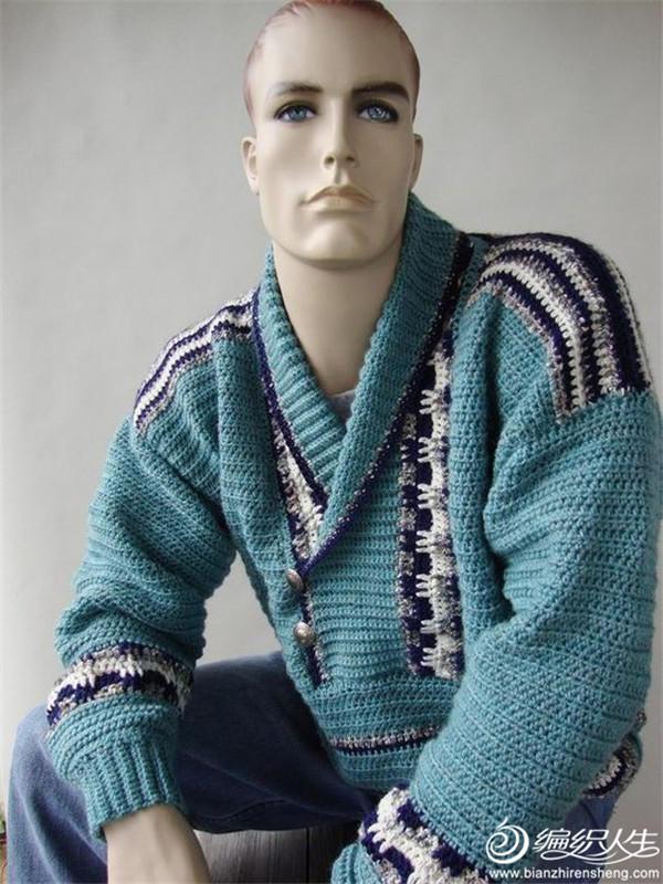 男士鉤針提花青果領毛衣