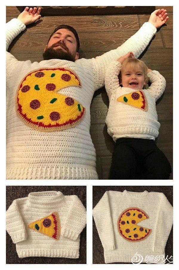趣味可愛鉤針父子毛衣