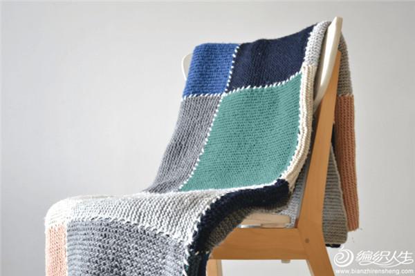 棒针方格毯