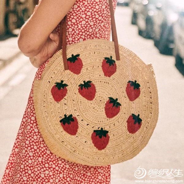 钩针草莓单肩大圆包