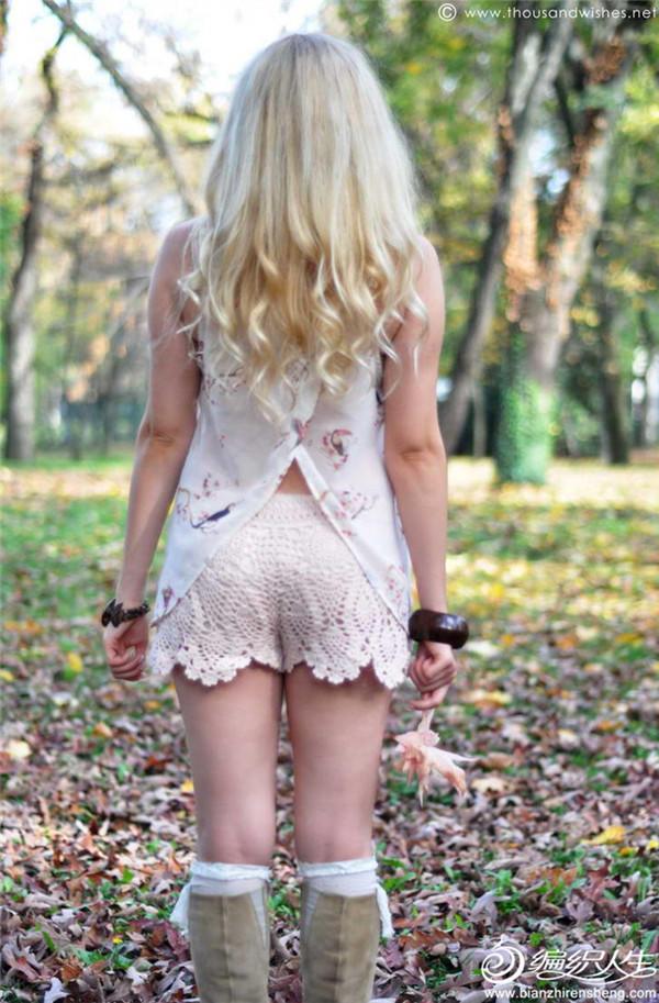 钩针蕾丝热裤