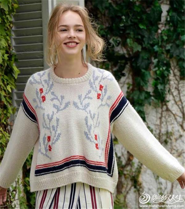 民族風女士棒針套頭毛衣