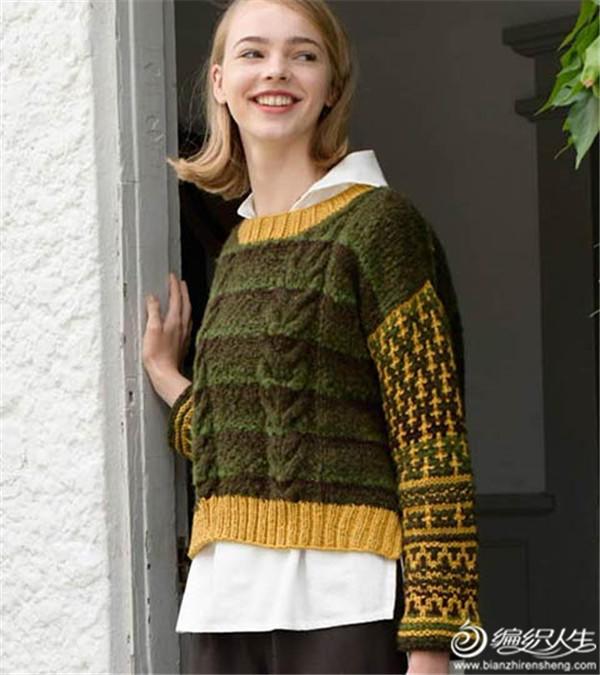 女士棒針麻花提花毛衣