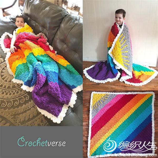 创意钩针彩虹毯