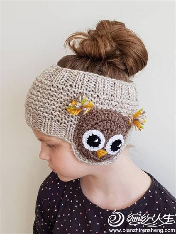 猫头鹰毛线发带护耳帽