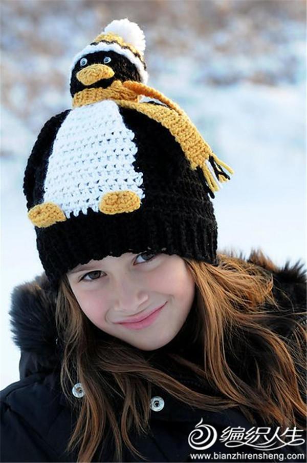 企鹅钩针儿童帽子