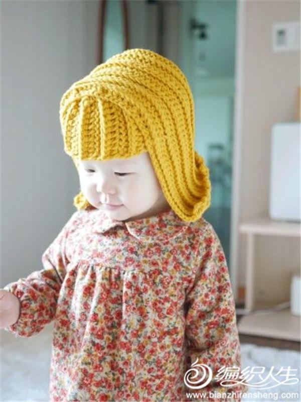 宝宝钩针假发帽
