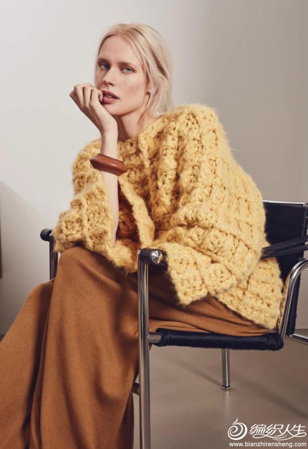 女士钩针饼干花外套毛衣