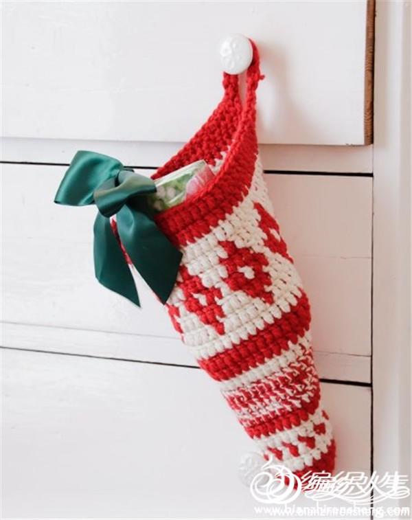 圣诞风钩针挂袋
