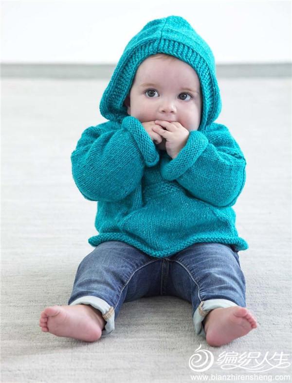 有帽有兜宝宝棒针毛衣