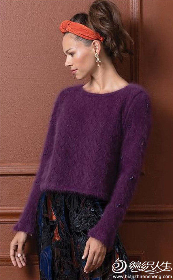 蕾丝花型荷叶袖毛衣