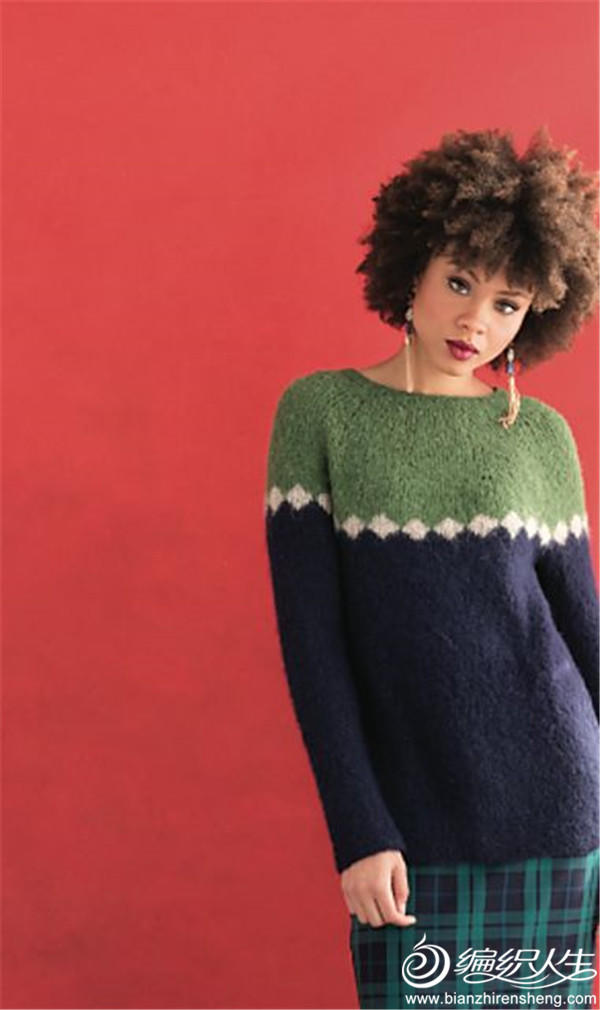 女士棒針拼色育克毛衣