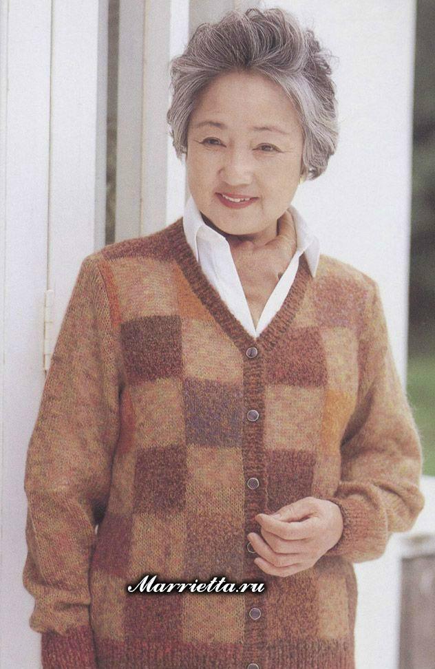 中老年V领格子开衫毛衣