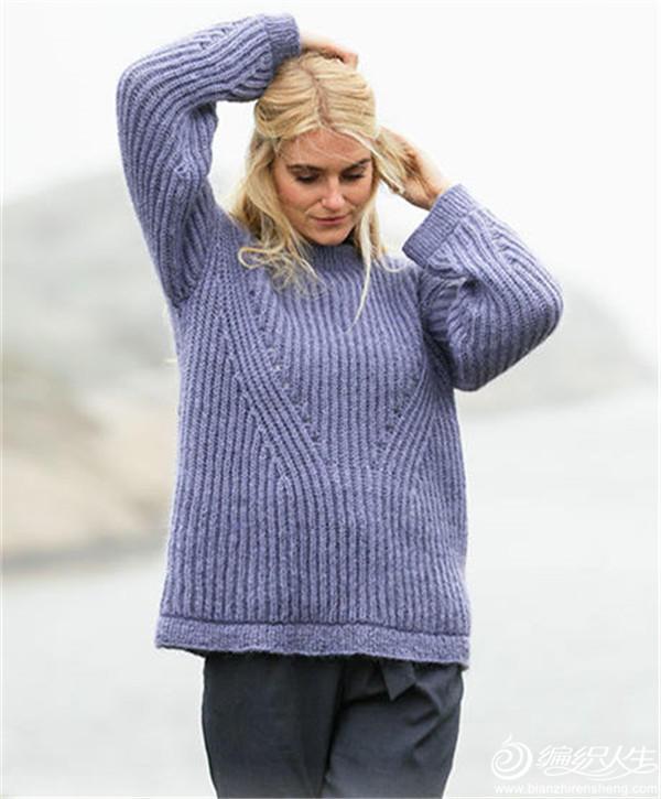 女士棒針元寶針套頭毛衣