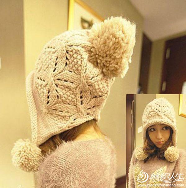 韩版毛线蝴蝶花帽子