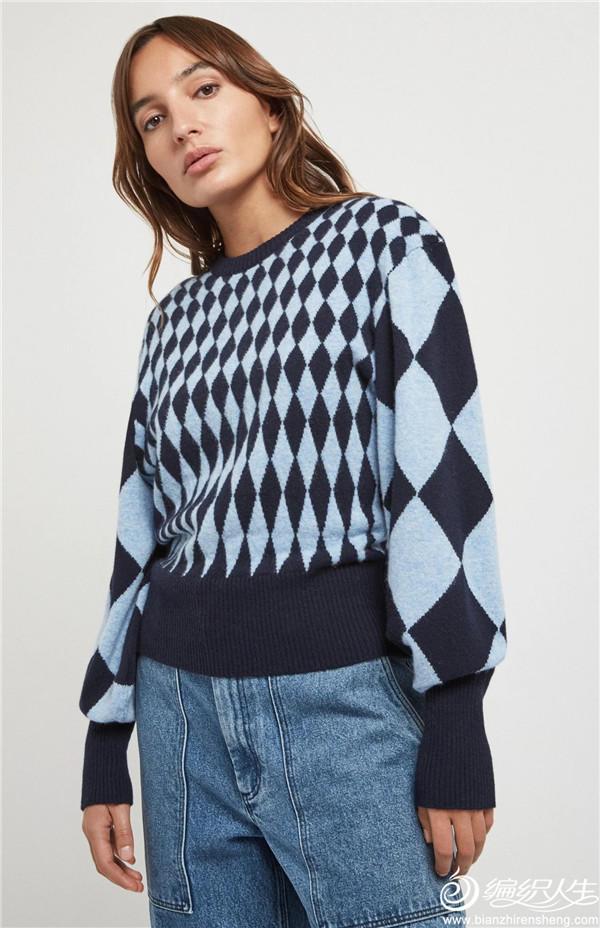 经典菱格毛衣
