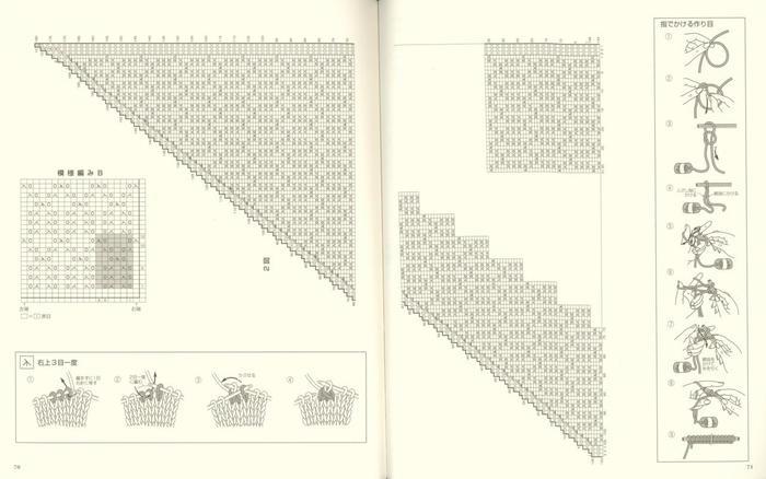 简约时尚女士棒针菱形镂空花三角披肩编织图解