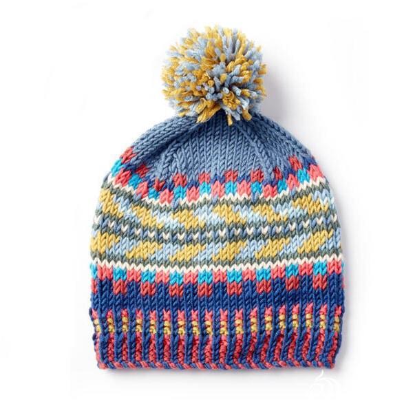 彩色毛线提花帽