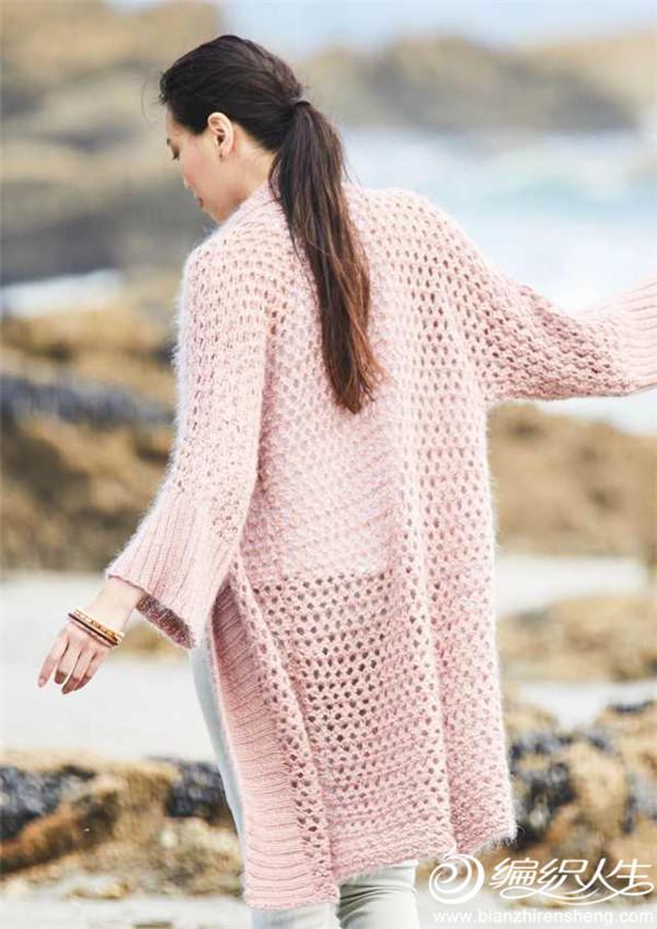手工編織女士鏤空花開衫