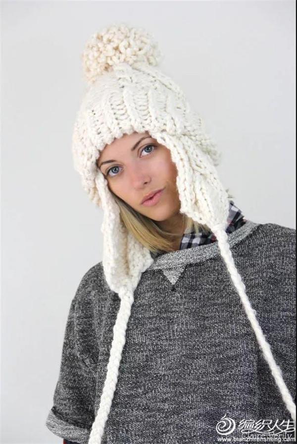 粗针织羊毛护耳帽