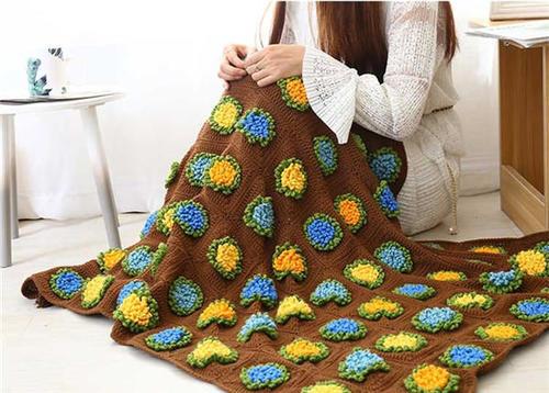 森林花地钩针拼花毯