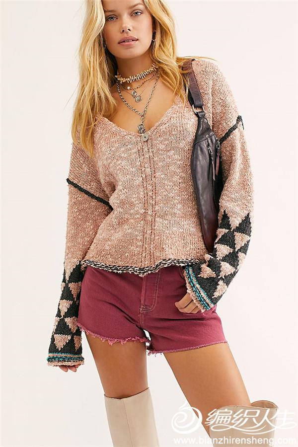 几何图案V领毛衣