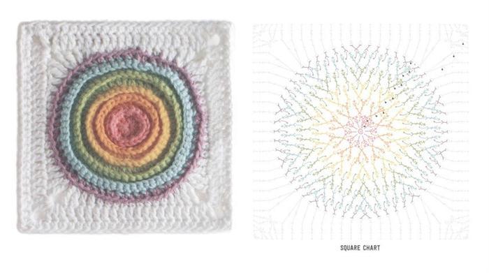 彩色方形钩针拼花花样20款 遇见色彩遇见美好