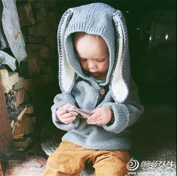 宝宝棒针连帽衫