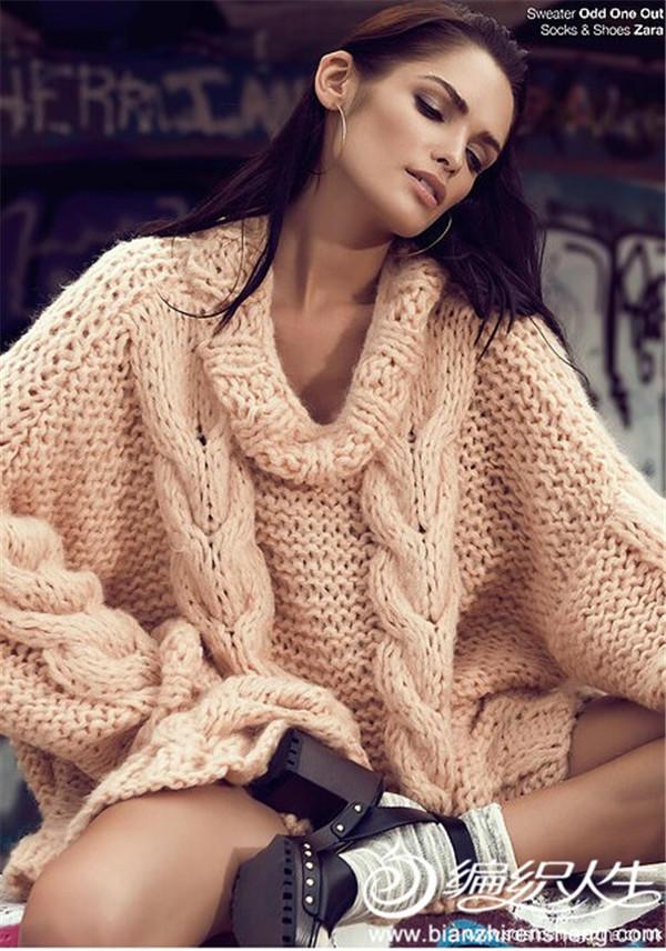 粗针织大毛衣