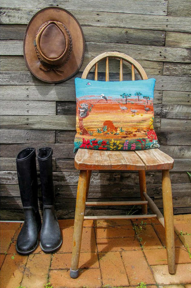风景画棒针抱枕