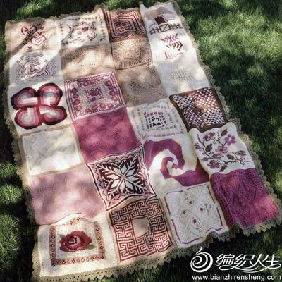 棒针拼花毯子
