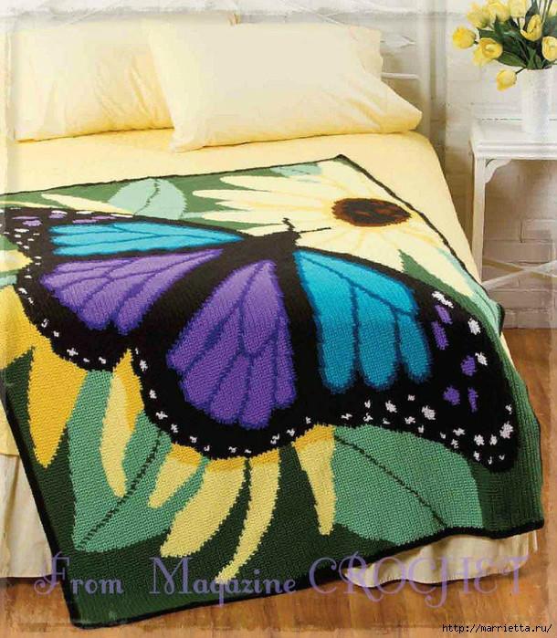 钩针蝴蝶花朵毯子