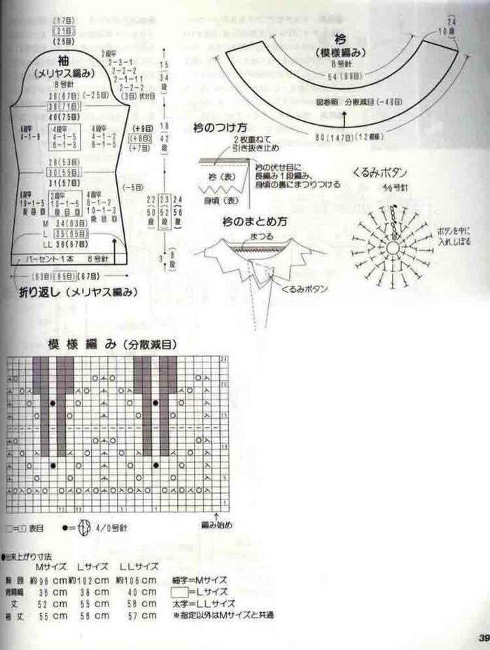 手工编织中式风格女士棒针开衫毛衣2款(各有3个尺码数据)