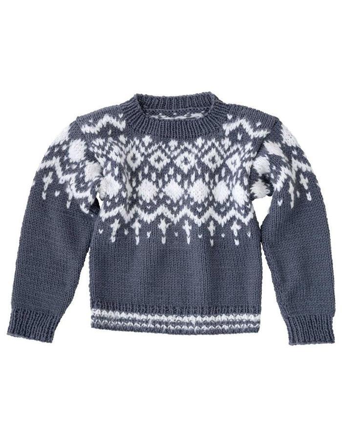 直袖款北欧风女士棒针提花毛衣