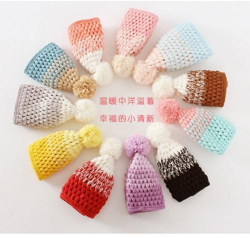 彩色钩针毛线帽子
