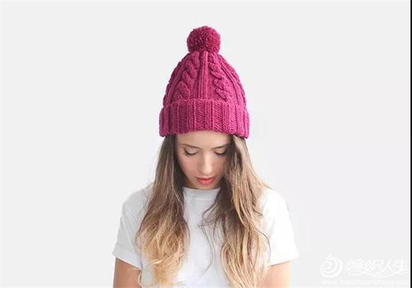 女士棒针麻花帽