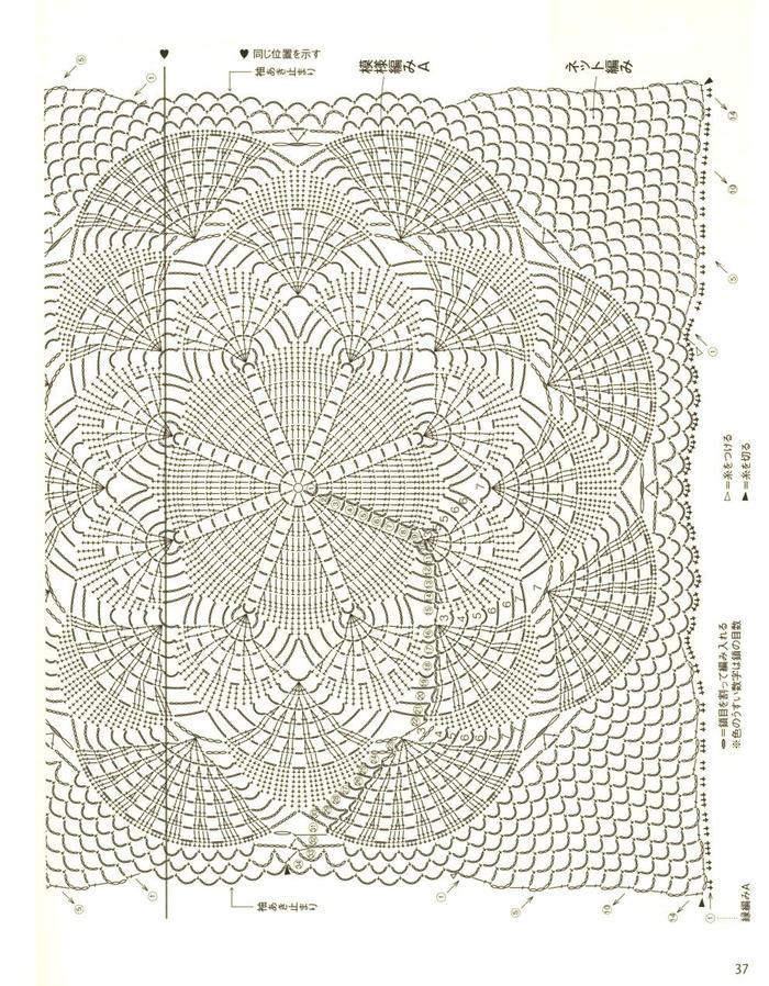 圆形织片加补花构成的女士钩针无袖套衫