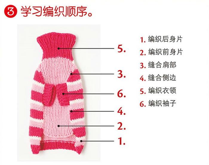 学习编织狗狗毛衣顺序