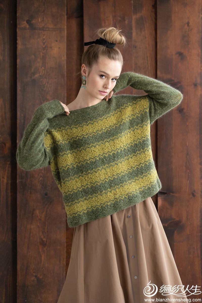 女士棒针提花毛衣