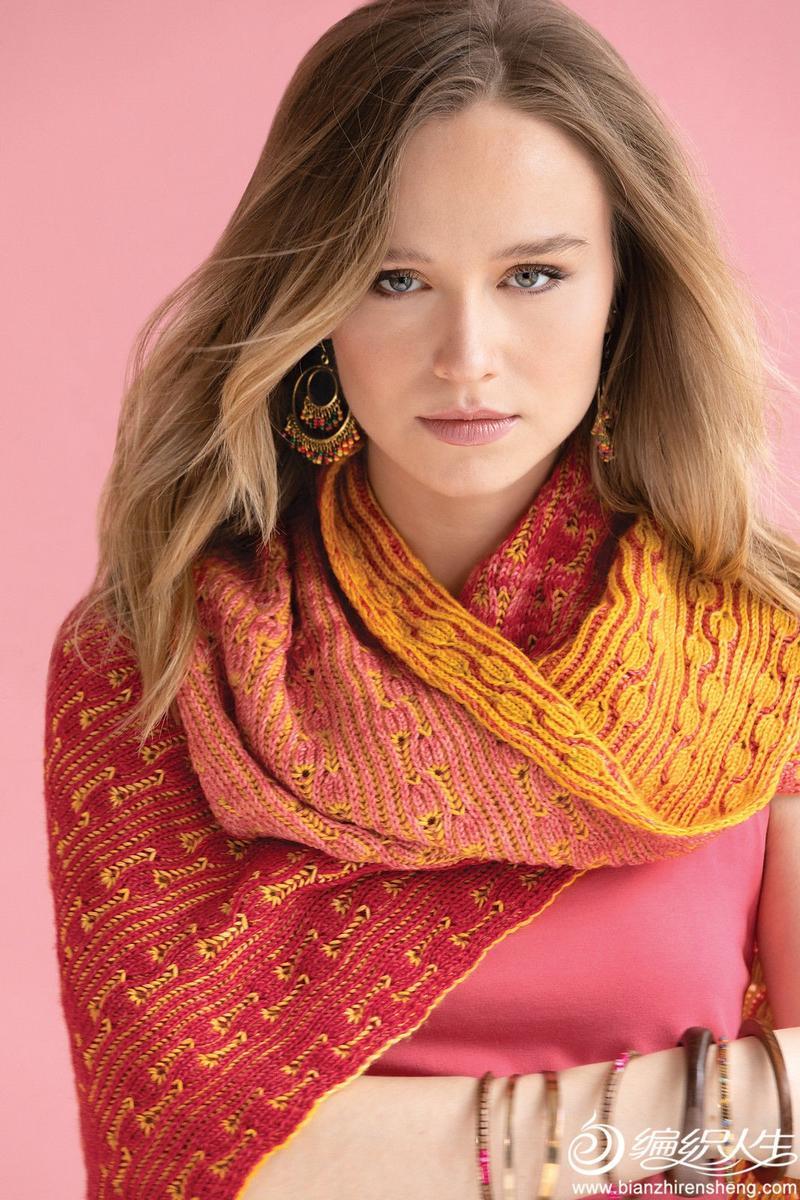 双色编织女士棒针围巾